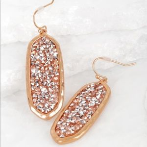 Jewelry - Oval Glitter Stone Hook Earrings